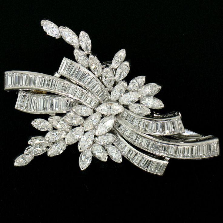 Vintage Platinum 6.35ctw Baguette & Marquise Diamond Bow Cluster Brooch Pendant
