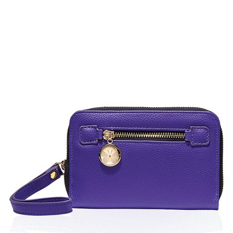 Holds phones up to 13 cm L x 8 cm W. Two slip pockets and five card slots on the inside; small zip pocket outside. Pebbled faux leather with zip closure. 15 cm L x 10 cm W x 3 cm D with 16 cm L wristlet strap.   Avon will donate 10% of the sale price of this product to the Avon Foundation for Women Canada to support Speak Out Against Domestic Violence programs across the country.