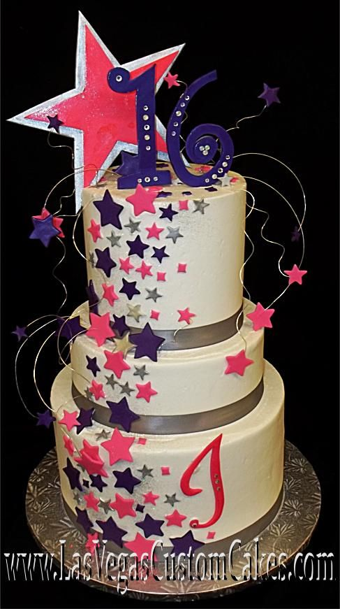 hollywood theme quinceanera cakes | Purple and Pink Dream Stars Cake