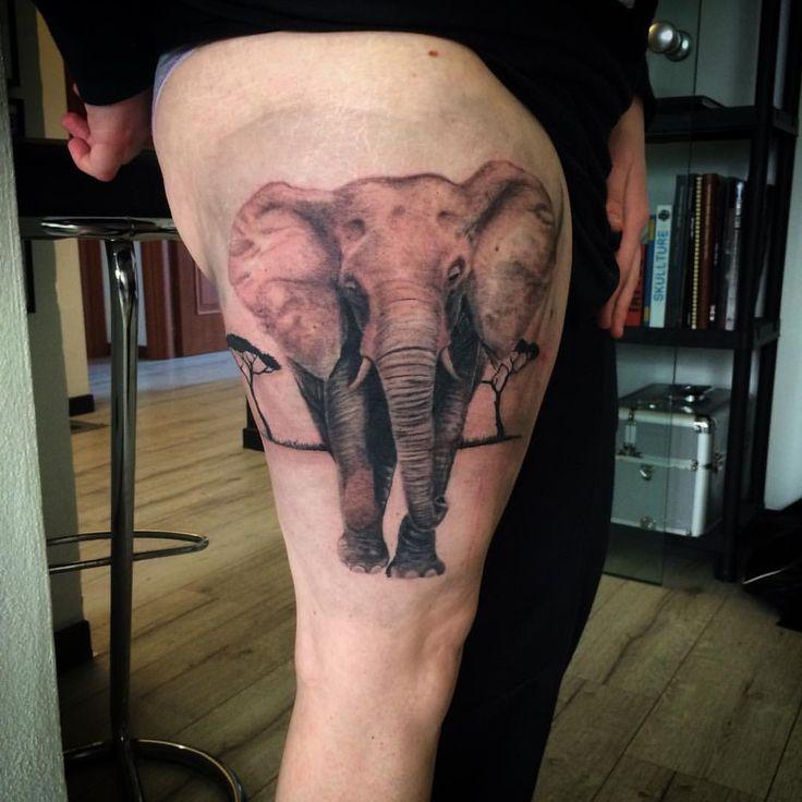 Elephant tattoo leg