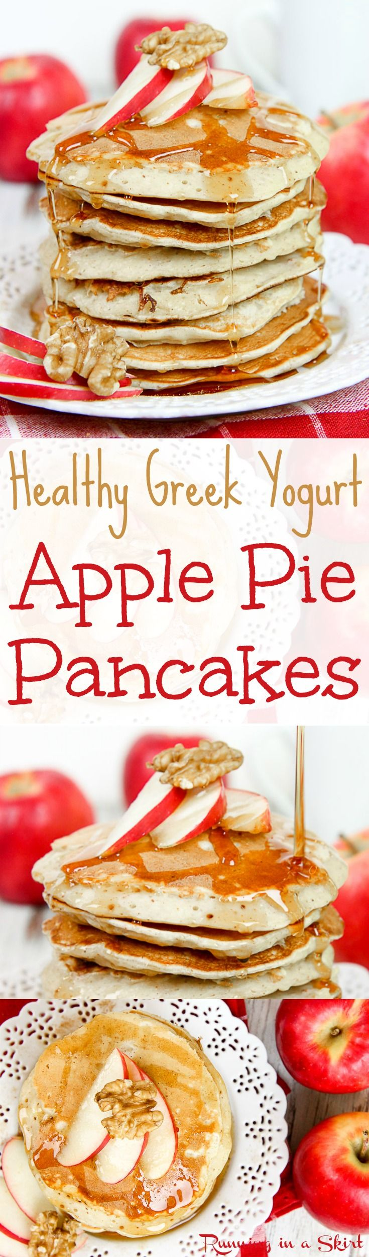 Healthy Apple Pie Greek Yogurt Pancakes recipe.  Easy, simple healthy breakfasts.  Filled with cinnamon, spices and fresh sweet apples. Perfect fall breakfast and you get an extra protein boost from the greek yogurt. / Running in a Skirt