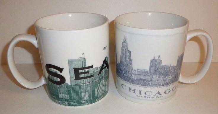 Lot of 2 Starbucks Mugs - SEATTLE Skyline Series 1 CHICAGO 2006 Architect Windy #Starbucks