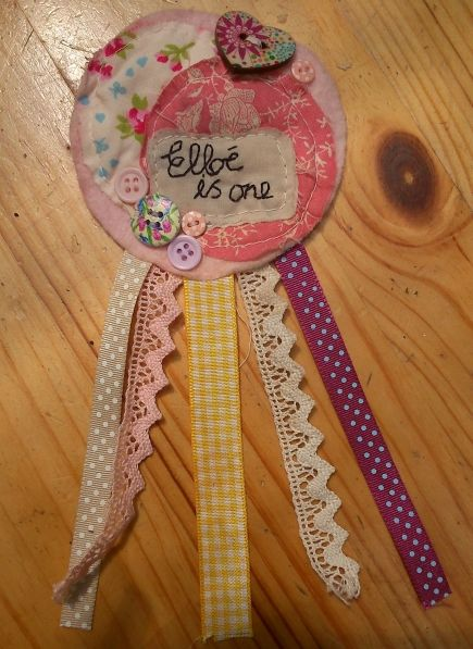 Birthday rosette for my daughter. https://www.facebook.com/pages/Little-Cottage-Crafts/123572114502327
