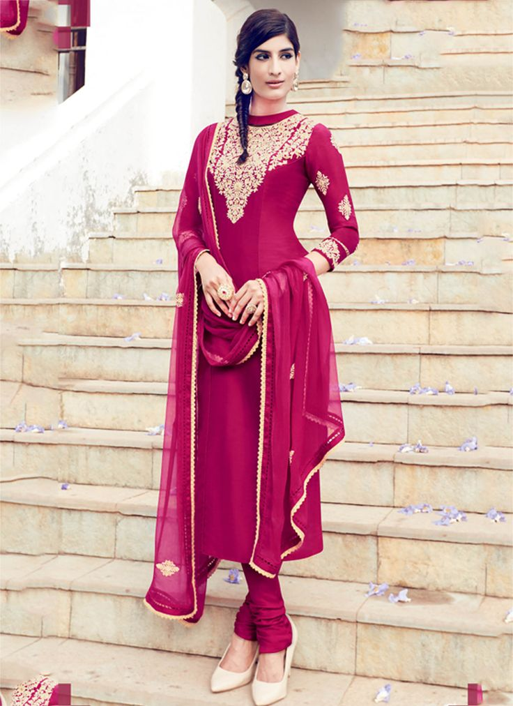 Buy Magenta color cotton casual wear straight cut salwar kameez at kollybollyethnics with free worldwide shipping.