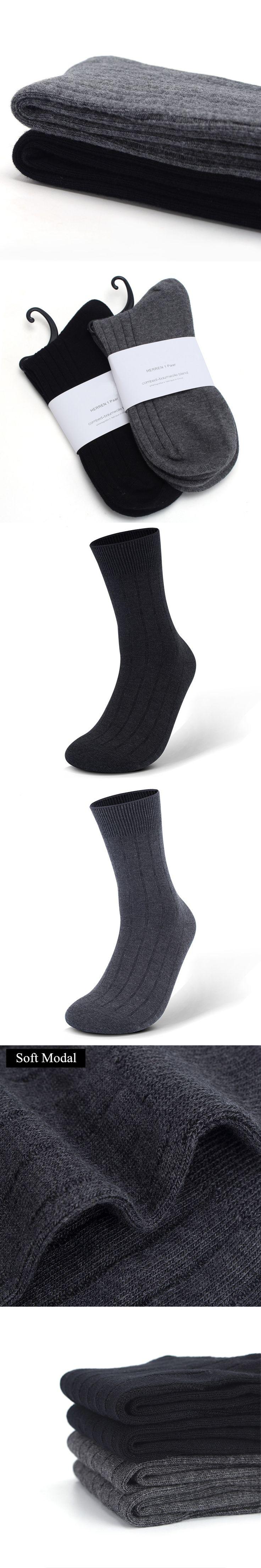 Fashion Mens Business Dress Socks Black Gray High Quality Breathable Deodorant Male Soft Crew Solid Modal Socks Sox US Size 7-11