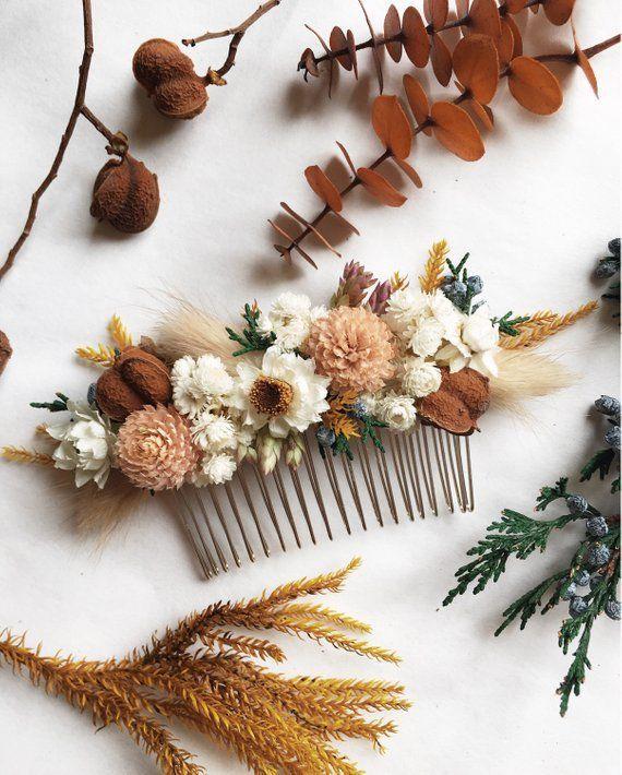 Hair Comb // Autumn Blush // Dried Flowers  #WeddingHairFlowers  Hair Comb // Au…