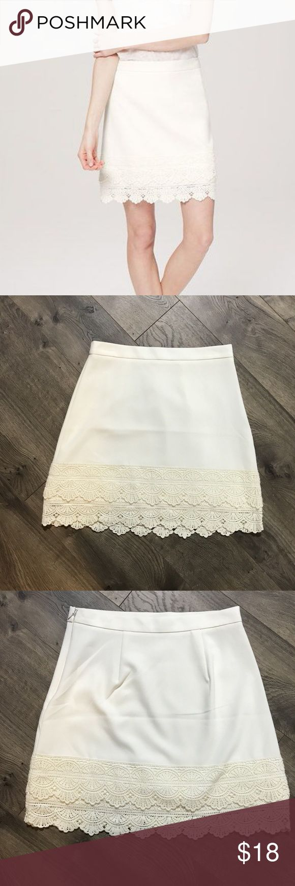 LOFT Double Tiered Lace Hem White Skirt Sz 2 Ann Taylor LOFT Double Tiered Lace Hem Skirt, Size 2, whisper white  This adorable double lace scallop hem skirt is perfect for the office or even for the weekend. Excellent Condition.   Measurements: Waist: 14 Inches  Length: 17 Inches LOFT Skirts A-Line or Full