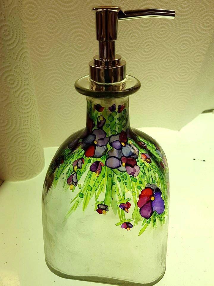 Patron Bottle Soap Dispenser Multi Flower in Alcohol Ink by Marlene Outlaw
