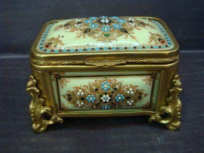 RARE ANTIQUE 19th C. VICTORIAN OPALINE BRONZE ENAMELLED BOX