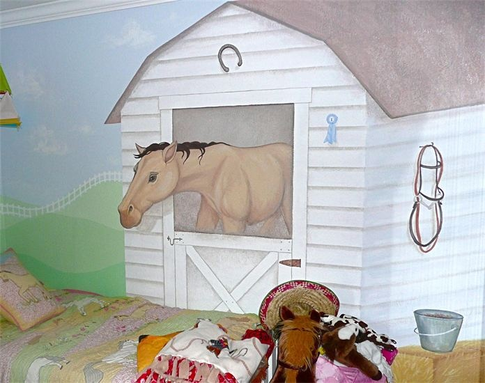 Horse Stable Mural For A Little Girlu0027s Room, By Kyle King, Decorative Artist Part 95