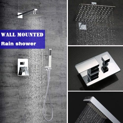 135.63$  Watch here - http://ali6dr.worldwells.pw/go.php?t=32351379229 - Bathroom wall mounted rain shower set brass material mixer shower faucet with 10 inch ultrathin 304# stainless steel shower head