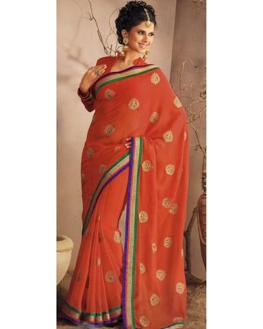 Sari Designer Malathi - Orange