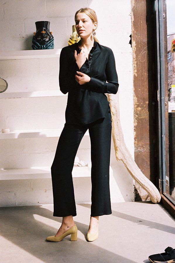 Hollyhock silk pants, black