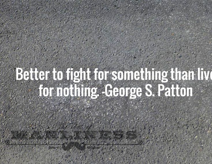 Better to fight for something than live for nothing. -George S. Patton