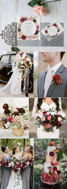 warm grey, blush and marsala fall wedding colors