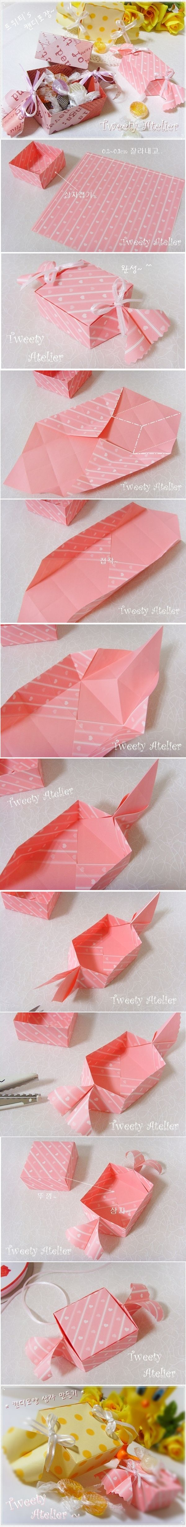 This is awesome idea to send candies as gift, in a box of candy shape, your guests will be amazed at this hand-crafted original cute ones – -It's folded wi