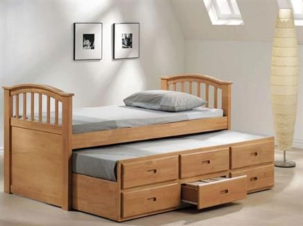 San Marino Maple Wood Full Bed W Twin Trundle Drawers