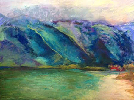 Unusual green light in the water. Pastel painting at Kualoa Beach Park, Oahu.