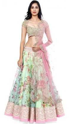 Blue Green Floral Lengha Set - Anushree Reddy