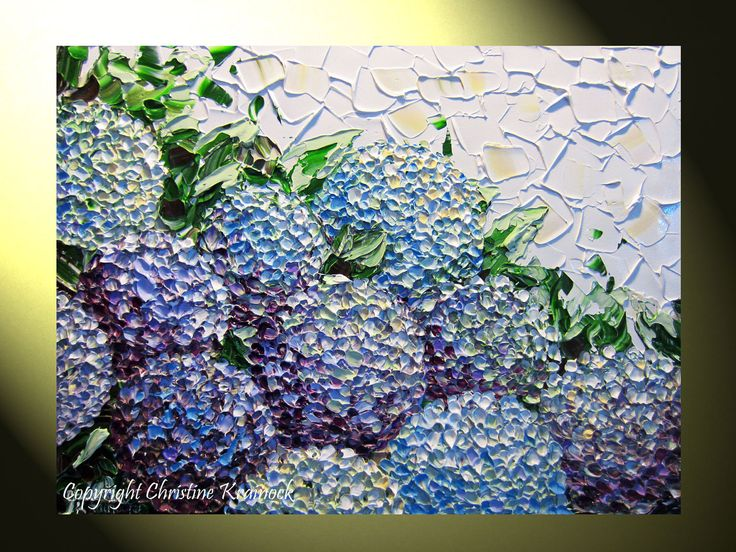 Original Art Abstract Painting Hydrangea Textured Flowers ...