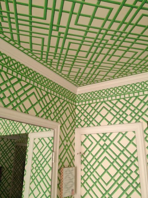 This green trellis wallpaper is one of my favorites and I love it especially when it's used on the ceiling too!