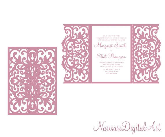 This laser cut invitation gate fold card template was created using my original hand drawn design. Perfect for Baby Showers, Birthdays, Christening, Weddings, Cardmaking etc. (Can be used with Cricut, Silhouette Cameo, Brother Scan and Cut and other cutting machines).  You can resize envelope size as you wish in your cutting software without loosing detail.  ----YOU WILL RECEIVE----  2 ZIP file- 10 file formats  ♥ 1 EPS, SVG, CDR, DXF, DWG, AI, PLT (vector formats)  ♥ 1 PNG (raster format…