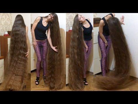 RealRapunzels - High heels and floor length hair [EXTREME HAIR PLAY] - YouTube