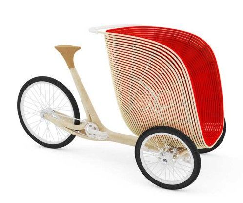 laminated bamboo with an electric scooter and the bamboo cargo trike