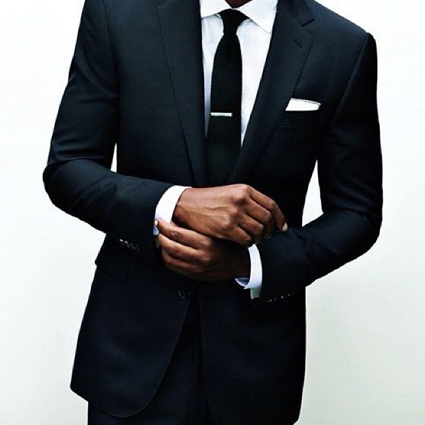 When in doubt... Black Suit, White Shirt, Black Skinny Tie. Love it! #happyfathersday #thetuxedoshirt