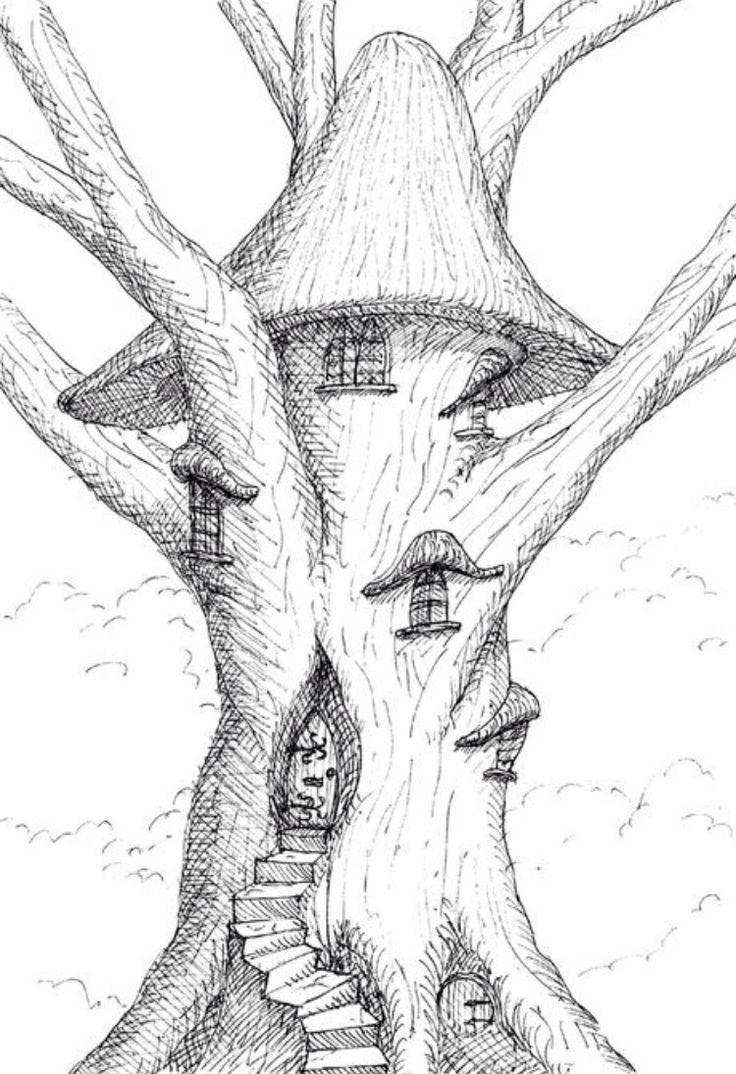 фантастический лес рисунок карандашом молодости