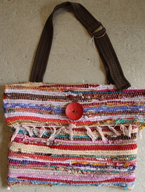 HANDMADE fabric scrap RAG RUG large purse upcycled belt by aviena, $68.00