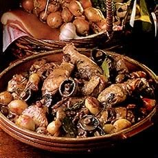 """Ooh-la-la! March 22 is National Coau Vin Day! This beautiful dark, wine, chicken, and mushroom dish si sublime. Delia Online suggests cooking it halfway the day before so that all the """"lovely flavors can be absorbed overnight!"""" C'est bon!"""