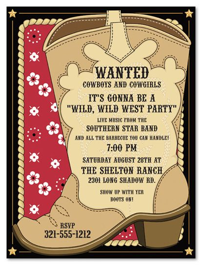25 best ideas about Cowboy Party Invitations – Wild West Party Invites