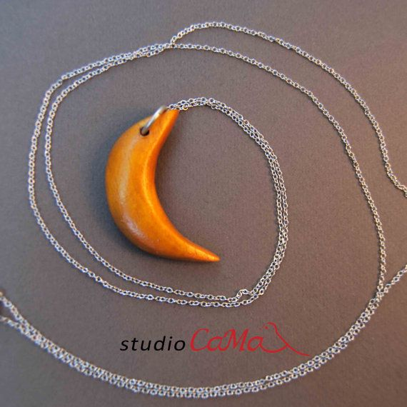 Handmade Moon Wood pendant with necklace
