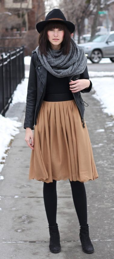 how to rock a skirt in winter