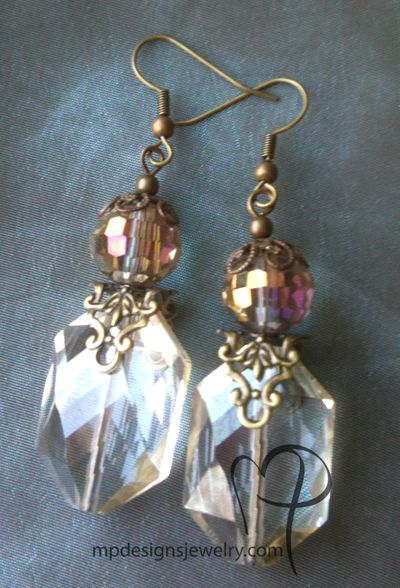 Vintage Romance ~ Steampunk Champagne Crystal Handmade Beaded Antiqued Gold Brass Earrings