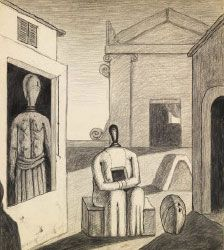 The Disquieting Afternoon from 1972 – a pencil drawing of two figures amongst buildings; one sitting, one standing.