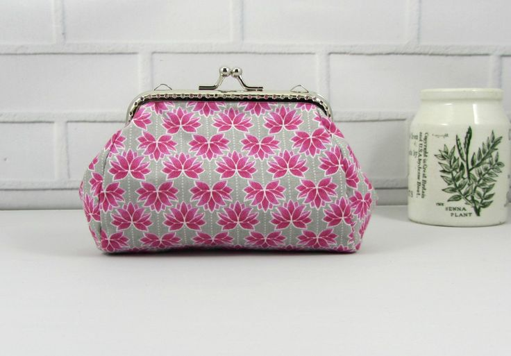 Coin purse, lotus flower pouch,  pink floral change purse, handmade purse, womans clutch, made in France by JRsbags on Etsy
