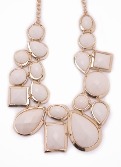 Statement necklace   white and gold statement necklace