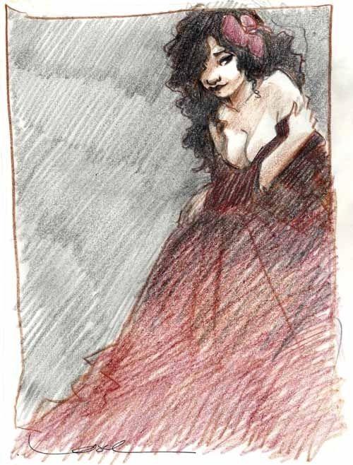 Femme en rouge - Crayons de couleur par Régis Loisel - Illustration