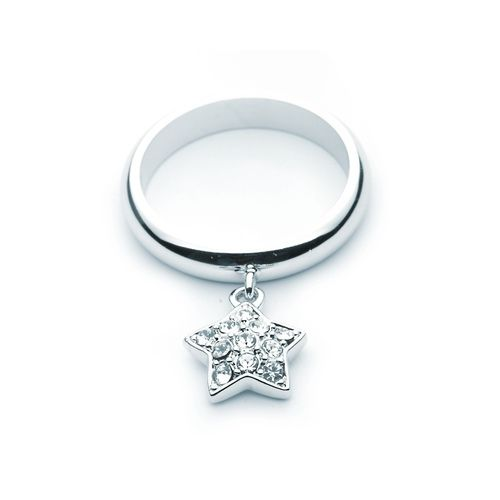 Crystal Paved Hanging Star Ring with Swarovski® Crystals