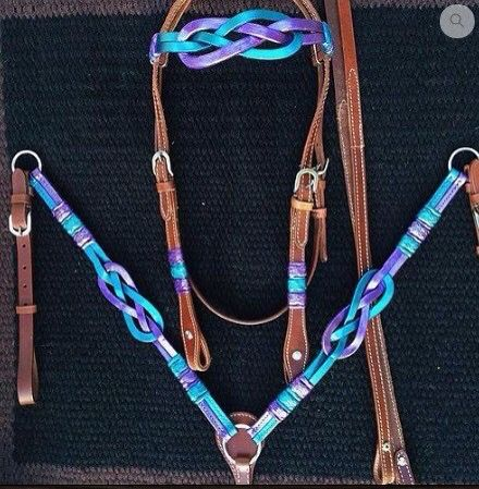Horse Medium Oil Purple Blue Aqua Teal Turquoise Western Bridle Headstall Breast Collar Celtic Knot this is so pretty!!!!