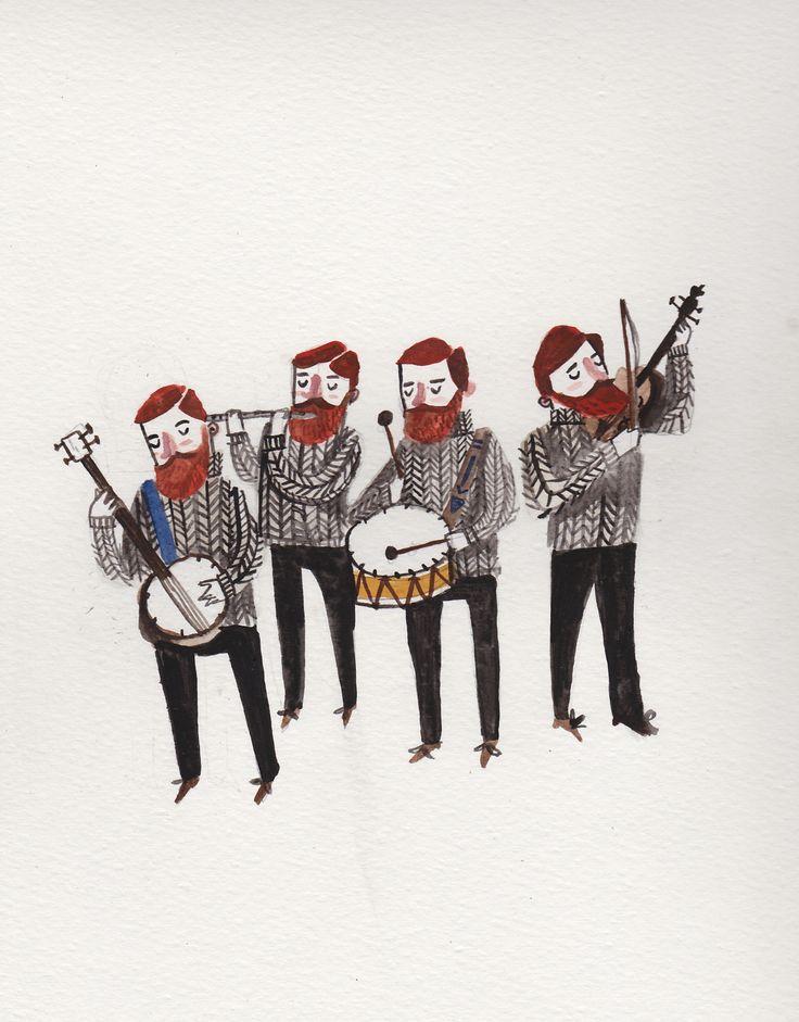 Irish folk band by Dick Vincent Illustration