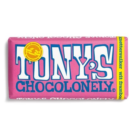 Tony's Chocolonely Wit Framboos Knettersuiker, Chocolade