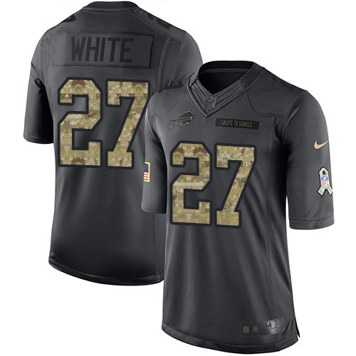 Youth Nike Buffalo Bills #27 Tre'Davious White Limited Black 2016 Salute to Service NFL Jersey