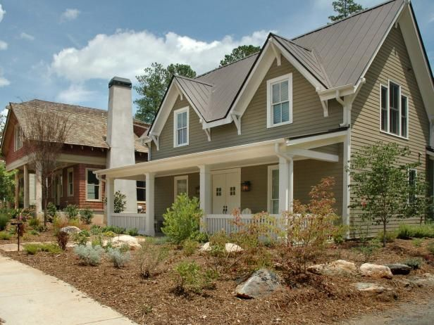Looking for low water gardening ideas? Check out this mulched front yard featured on HGTV.com.