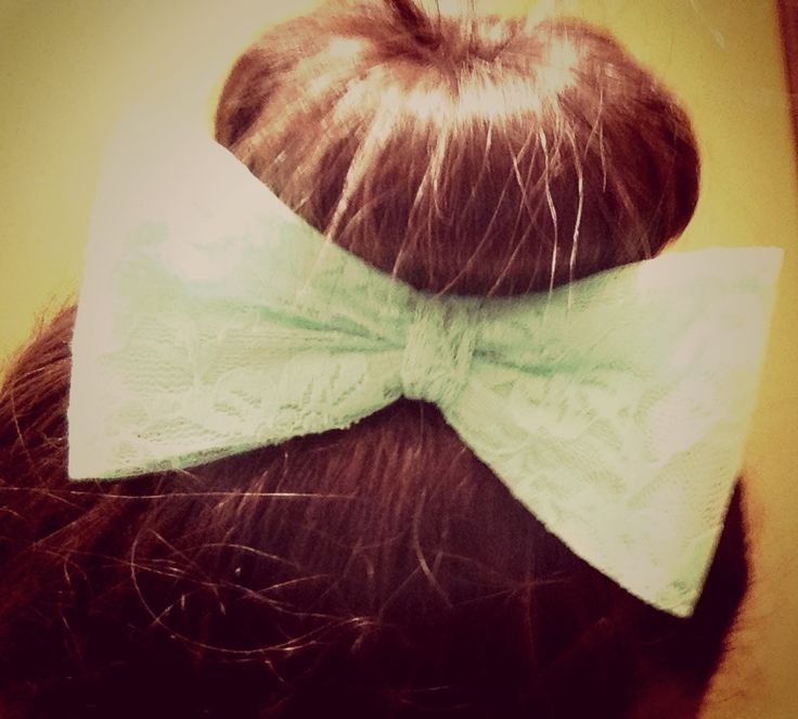 High bun with over sized mint colored lace bow from Claire's...#pre teen fashion
