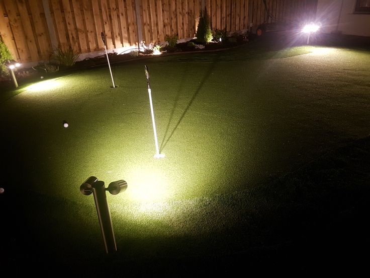 Golf Green at night landscaping and Garden Design by AmazonGolfGreens.ie