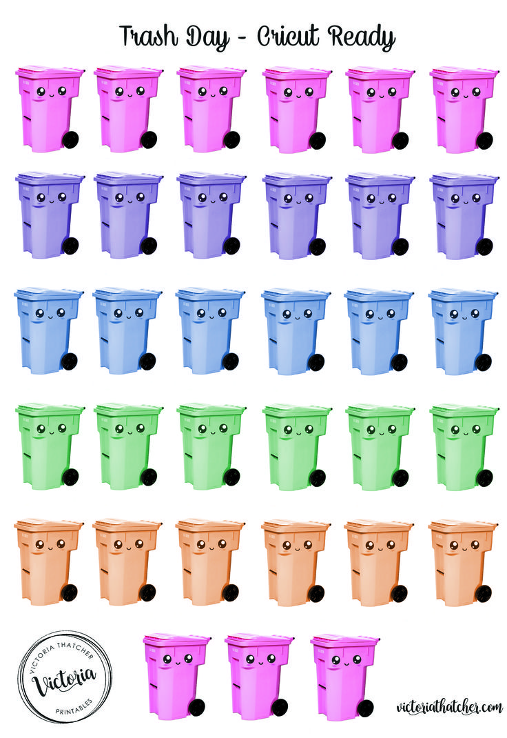 Free Printable Trash/Recycling Bin Planner Stickers from Victoria Thatcher