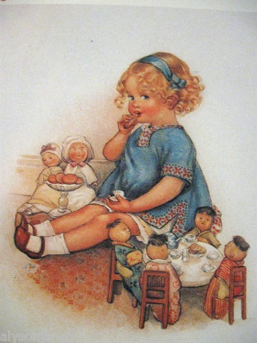 """1910 Print """"The Doll's Tea Party"""" s Beatrice Pearce C R A Yates"""